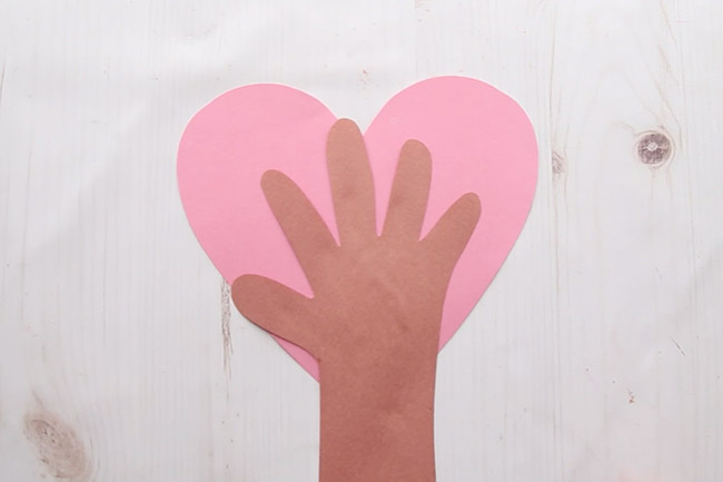 Glue Handprint to Heart