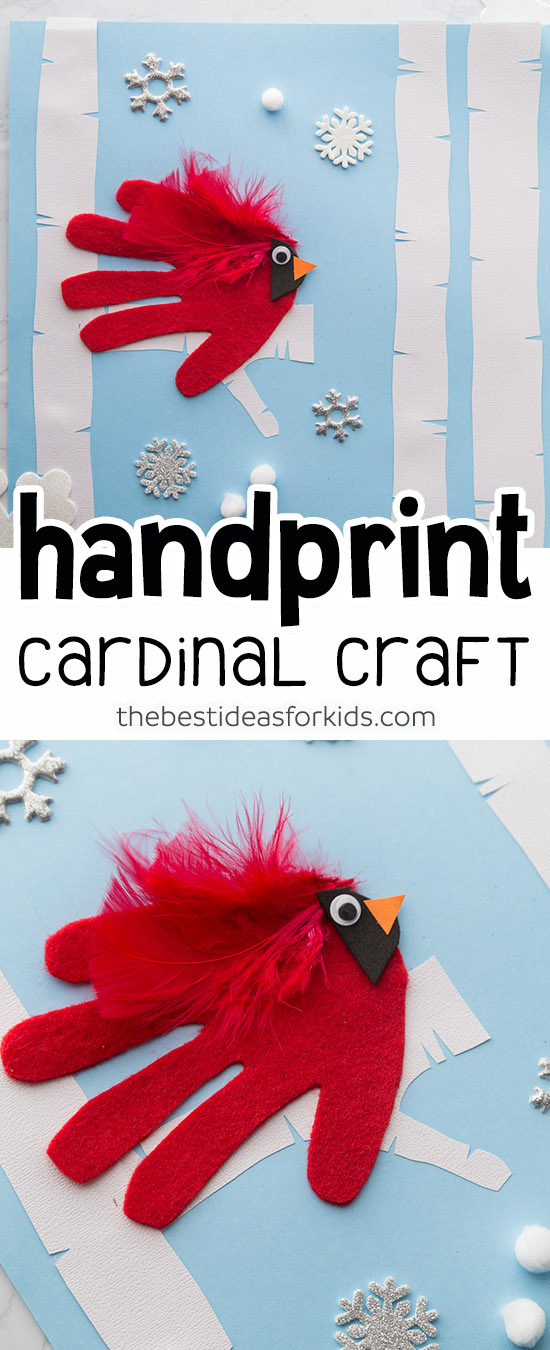 Handprint Cardinal Winter Craft