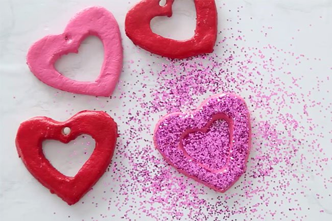Paint and add Glitter to Salt Dough Hearts