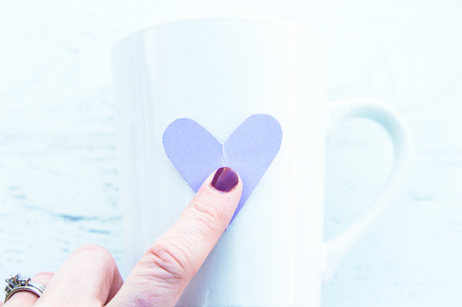 Place heart on mug