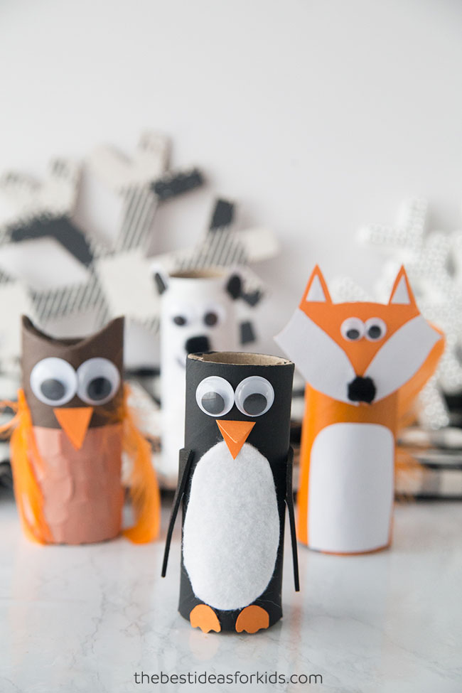 Toilet Paper Roll Winter Animals