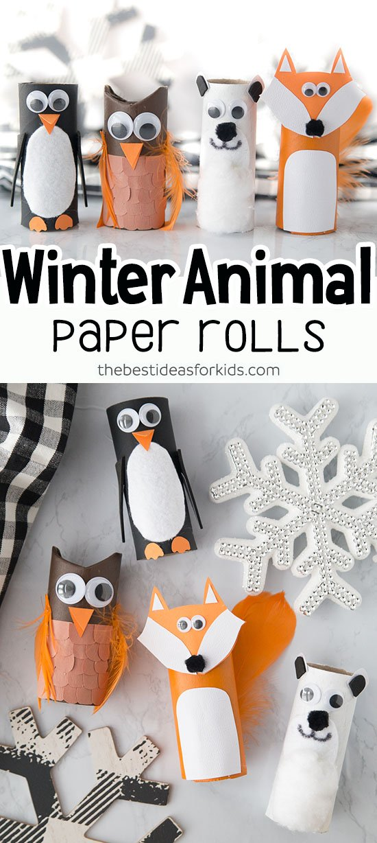 Winter Toilet Paper Roll Animals Kids Craft