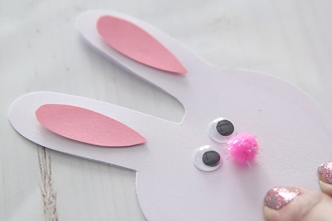 Bunny Handprint Card Add Googly Eyes