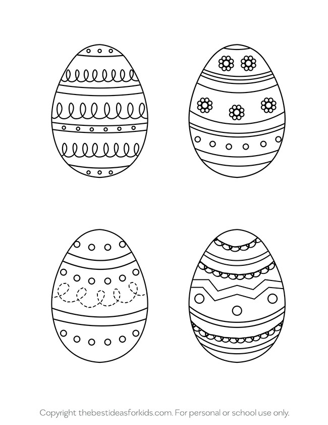 Easter Egg Templates 4 Designs