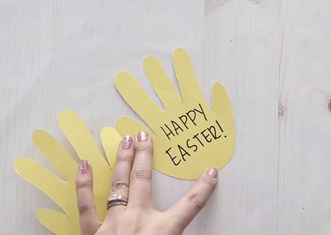 Write Easter Message in Handprint Card