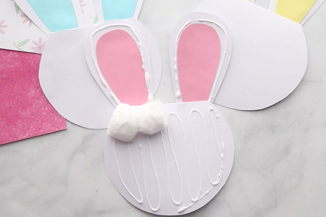 Glue Cotton Balls to Bunny Craft Card