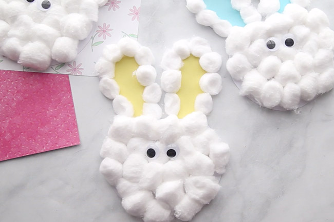Glue on eyes to bunny craft