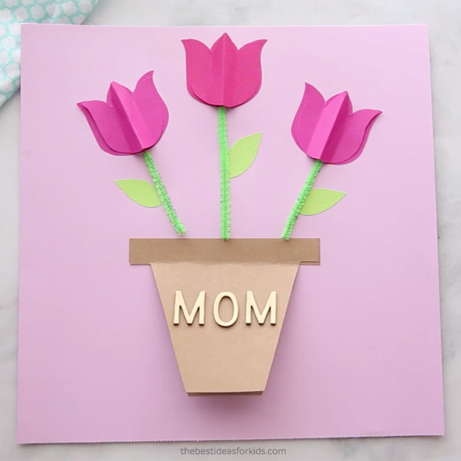picture about Flower Pot Template Printable called Moms Working day Card Craft - The Least difficult Designs for Little ones
