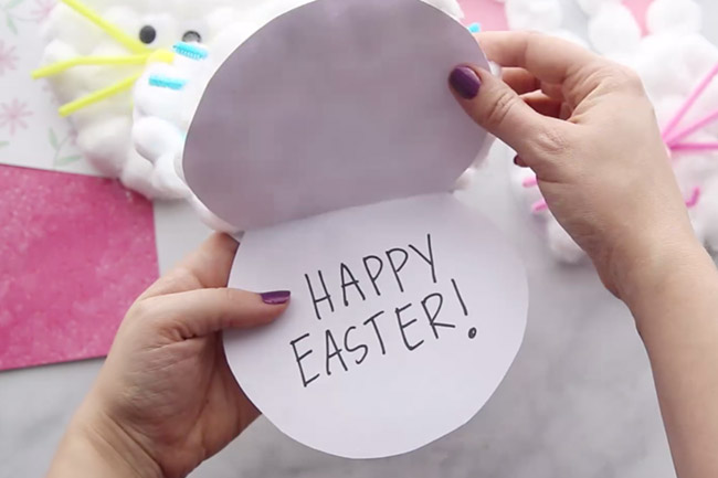 Write Happy Easter Inside Bunny craft card
