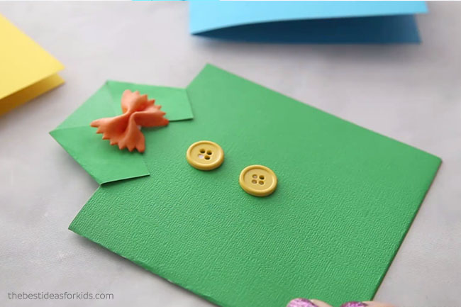 Glue Bow Tie Noodle to Shirt Card