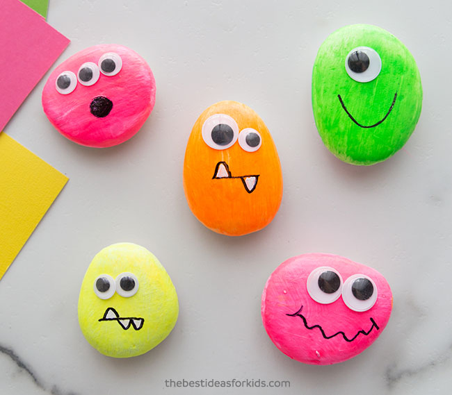 Glow in the dark monster rocks craft