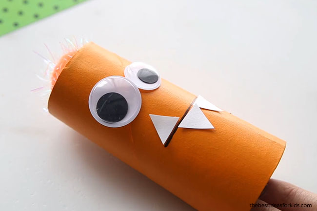 Glue paper teeth on Paper Roll Monsters