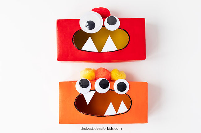 Add Pom Poms to Tissue Box Monster Head