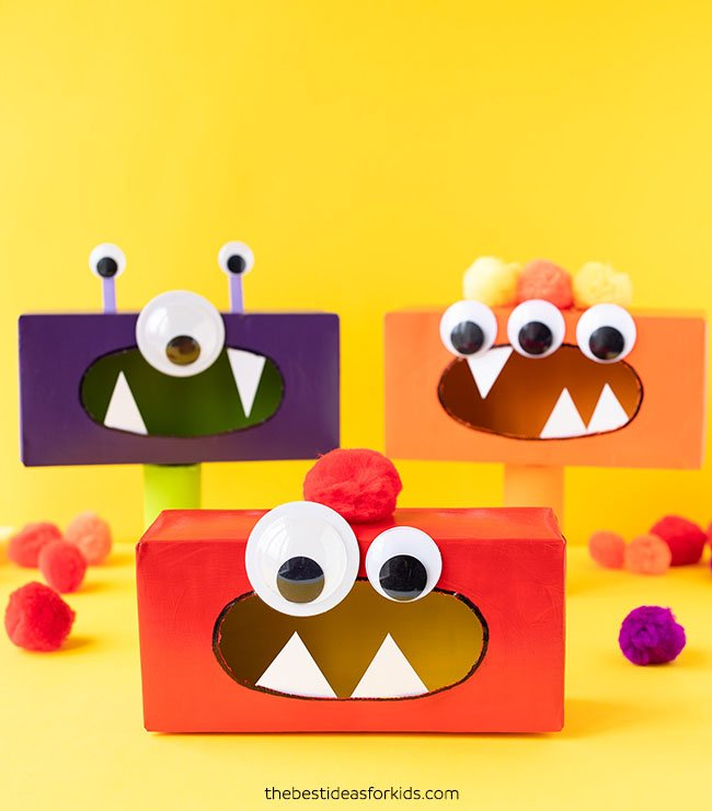 Tissue Box Monsters Craft image. Follow text below on how to make the craft.