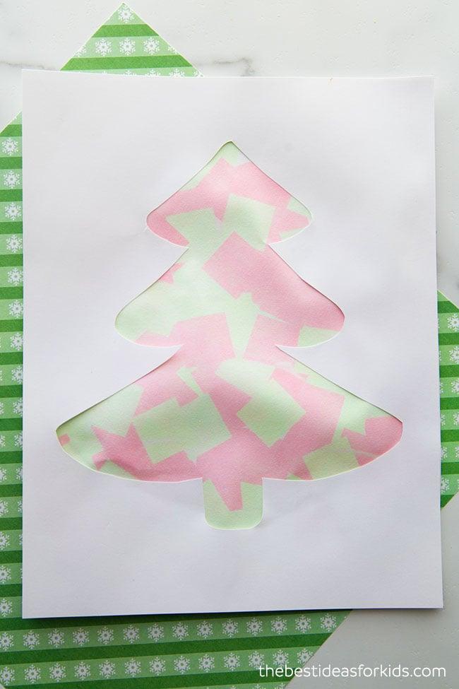 Christmas Tree Bleeding Tissue Paper Art