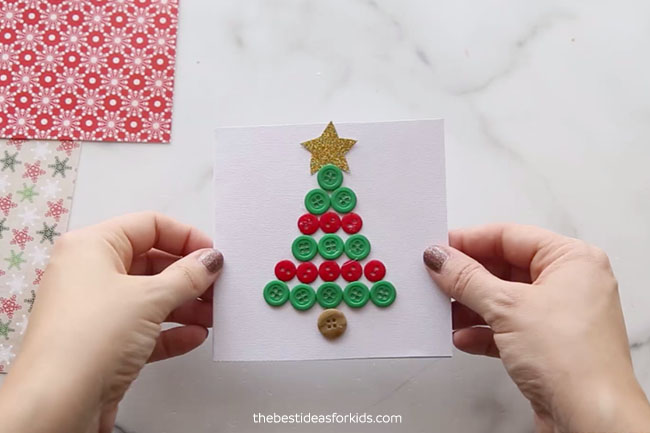 Christmas Tree Button Card