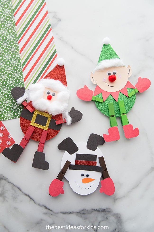 Clothespin Christmas Crafts for Kids