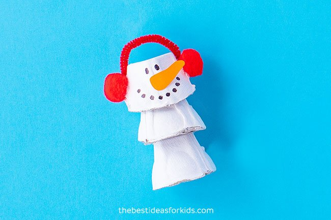 Egg Carton Snowman Christmas Craft