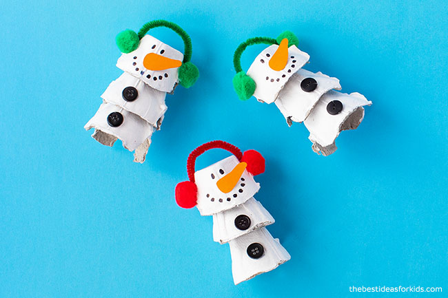 Egg Carton Snowman Craft for Kids