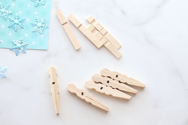 Glue Clothespins Snowflakes