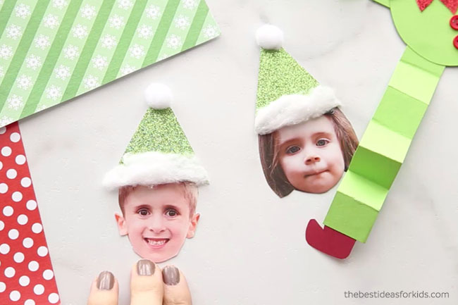 Glue Hat on Paper Elf
