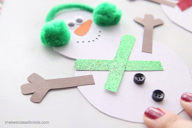 Glue on Arms to Snowman