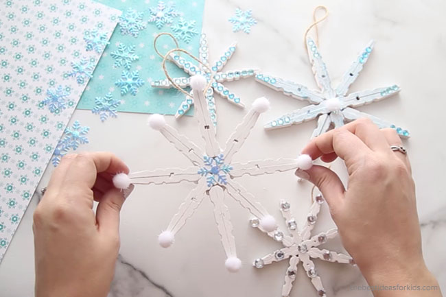 Pom Pom Clothespin Snowflake