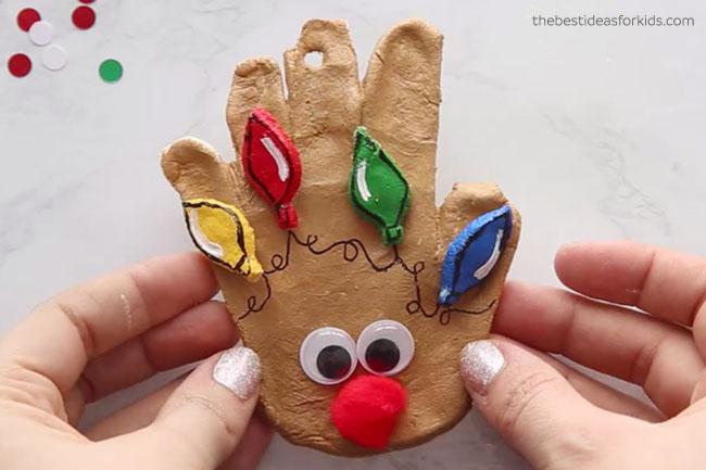 Salt Dough Reindeer Handprint Ornament