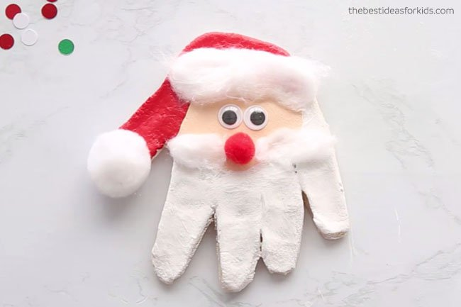 Santa Handprint Salt Dough Ornament