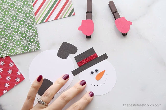 Snowman Face Clothespin Craft