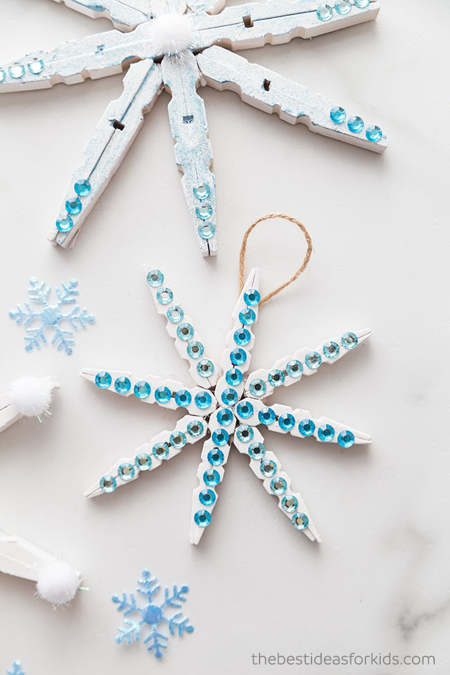 Wooden Clothespin Snowflakes