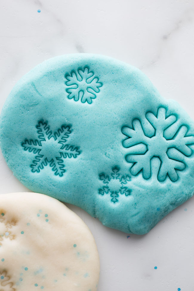 Frozen Playdough Snowflakes