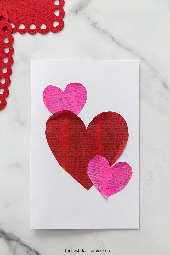 Newspaper Heart Valentine Card
