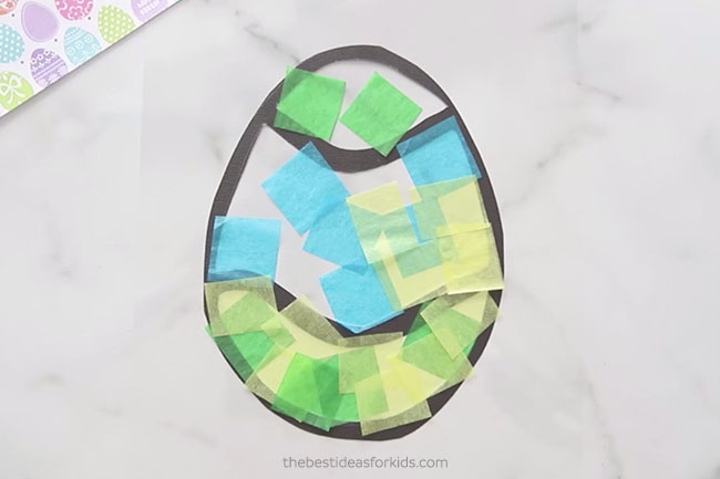 Add Tissue Paper to Easter Suncatchers