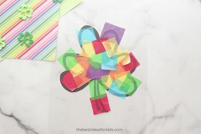 Add Tissue Paper to Shamrock Suncatcher