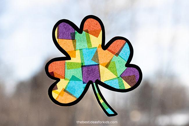 Rainbow Shamrock Suncatcher Craft