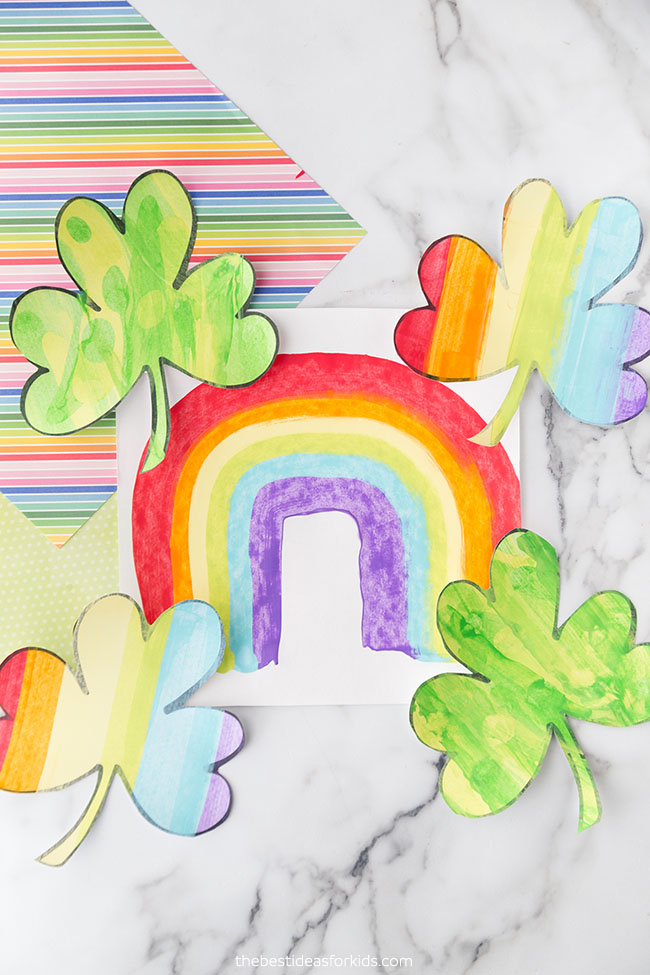 Shamrock and Rainbow Scrape Painting