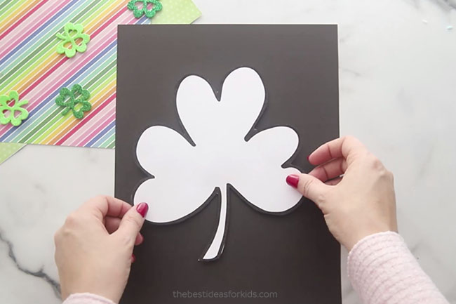Trace Shamrock Template on Cardstock