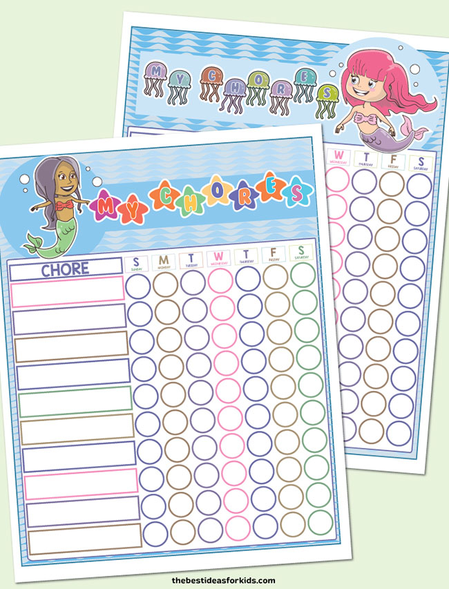 Mermaid Chore Charts