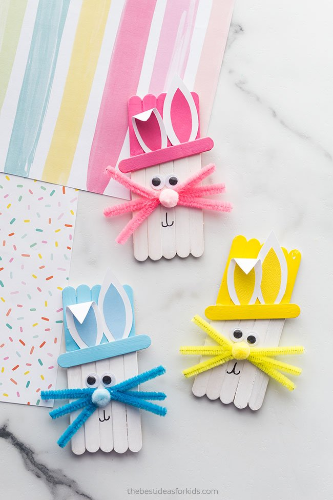 Popsicle Stick Easter Bunny Craft for Kids