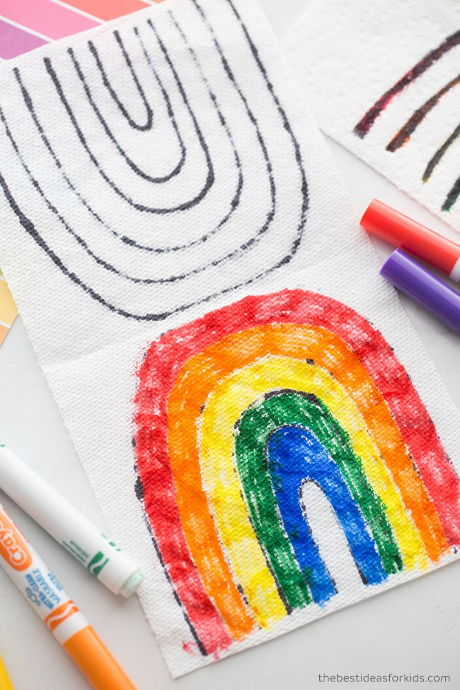 Washable Marker Rainbow Experiment