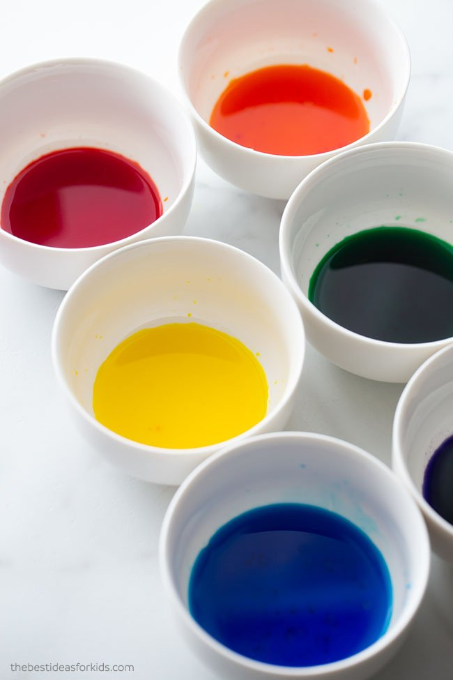 Add Food Coloring to Bowls