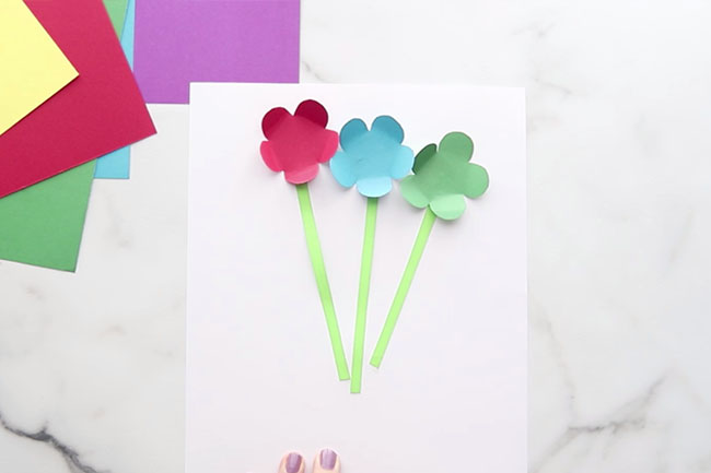 Glue Flowers and Stem to Card