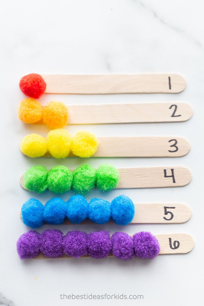 Counting Pom Pom Popsicle Sticks