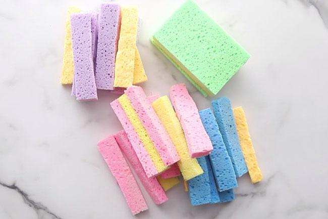 Cut Sponges Into Strips
