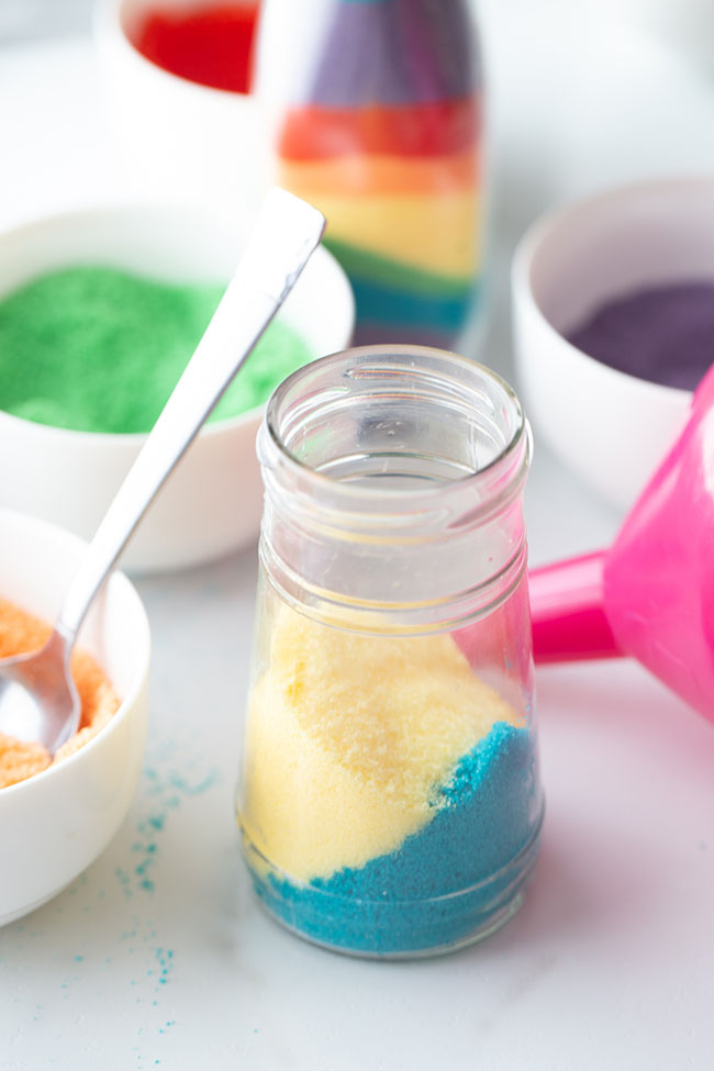 Fill Jars with Colored Salt