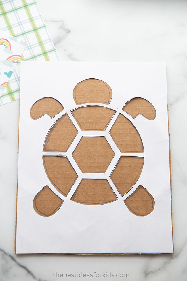 Trace Turtle Template Onto Cardboard