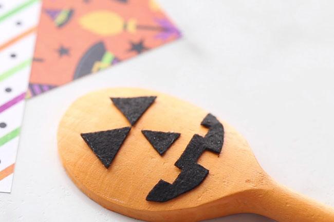 Glue Felt on Pumpkin Spoon