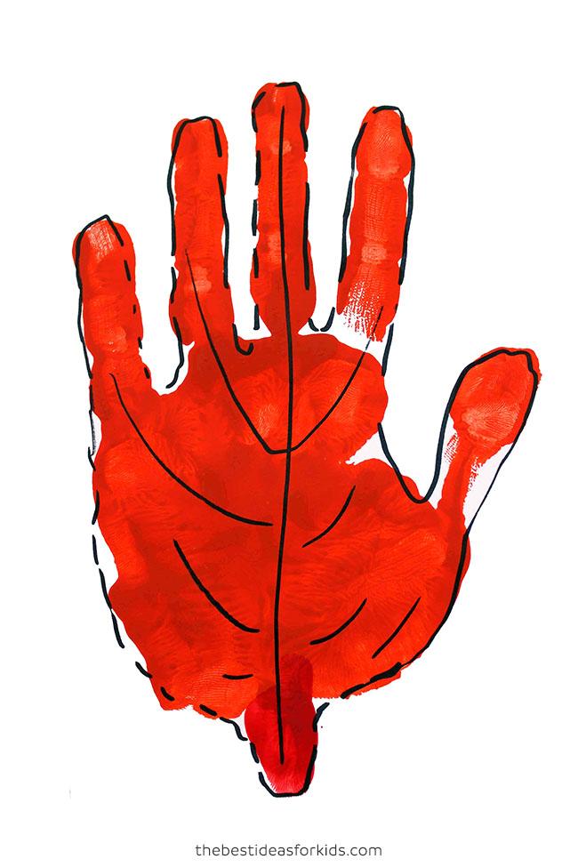 Leaf Handprint Art