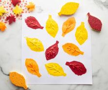 Sponge Painting Leaves